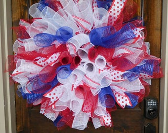 "XXL Deco Mesh Wreath - 34"" Diameter. - Spirals in Red, White and Blue - White ribbon with red dots -4th of July - Memorial Day -Patriotic"