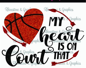 My Heart is on That Court Basketballl Heart Pattern Instant Download SVG EPS DXF Cutting file