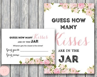 Pink Peonies Guess How Many Kisses, Bridal Shower Games, Rustic Mason Jar, Bridal Shower Guessing Game, Bachelorette, Wedding wd67 TH18