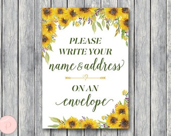 Sunflower Wedding Thank you return address, Write your name and address on an envelope sign, Printable sign, Wedding decoration TH80
