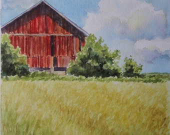 original painting, watercolor landscape painting, fields, red barn, barn painting, yellow, field, farm decor, landscape, country, clouds