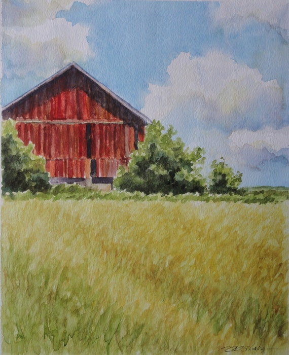 Original barn painting watercolor fields red barn painting for Watercolor barn paintings