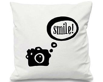 Camera Speech Bubble Smile Cotton Cushion Cover