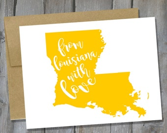 Customizable From Louisiana With Love Notecard Set of 12 - Louisiana Note Card Set - Stationary Set