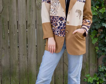 Vintage Stephanie By Suzelle Brown/Tan Animal Print and Embroidery Blazer