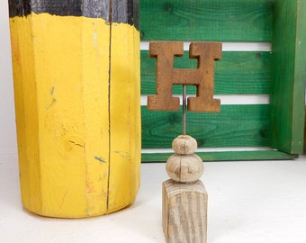 Vintage Wood Letter H on Architectural Salvage Pedestal, Initial on Victorian Spindle Base, Personalized H