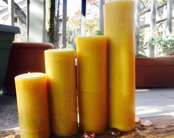 """100% Pure Beeswax Pillar candle-set of 4 beeswax candles-2"""" diameter candle-handmade pure beeswax-pillar beeswax candles"""