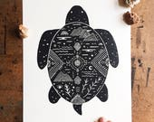 Cosmic Turtle Print  |  hand pressed block print, recycled paper, linoleum block print