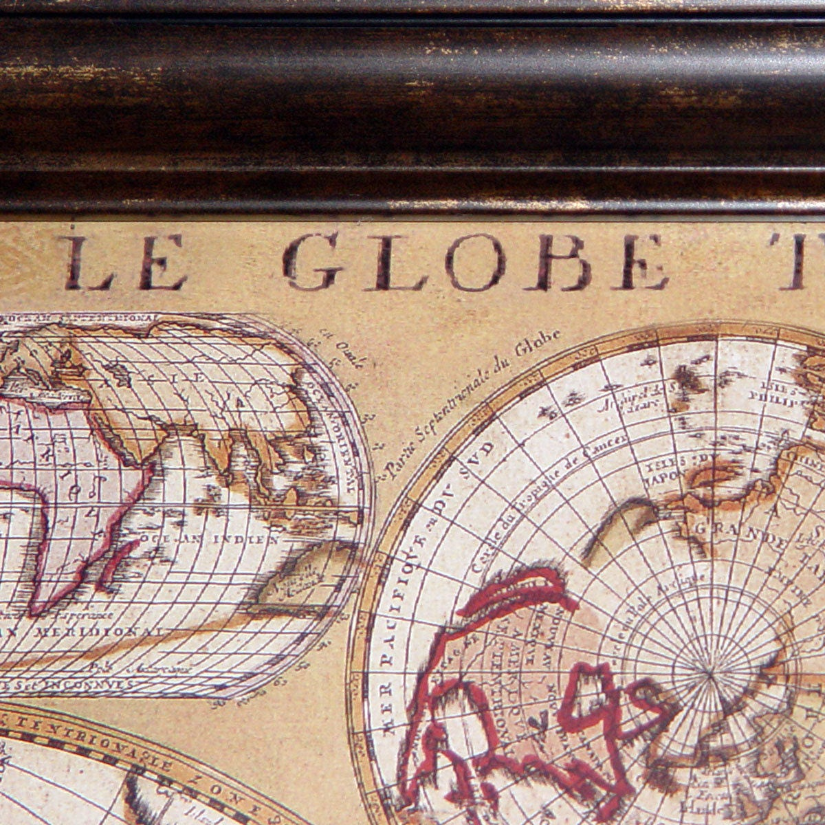 vintage le globe terrestre 1690 world map walnut glass framed in vgc ca 1980. Black Bedroom Furniture Sets. Home Design Ideas