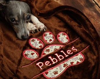 Custom Dog Blanket with Personalized Paw Print and Name Super Soft