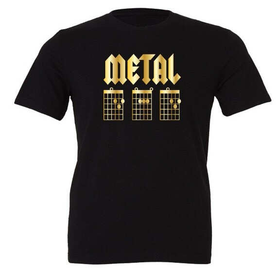 Metal Dad. D A D T-Shirt. Special Edition Gold. Guitarist Chord Tab inspired design. Dad, Daddy, Christmas, Xmas Present or Birthday Gift