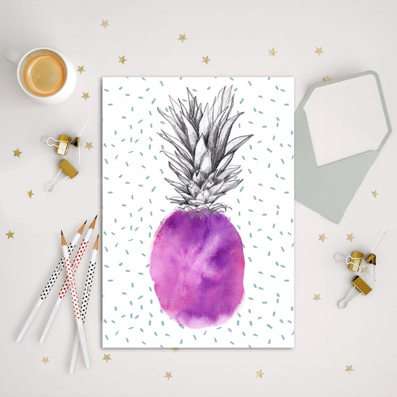 PINEAPPLE Illustrations Watercolor violet and pink hues,ananas.Art Print aquarelle,abacaxi decoration Pineapple,piña,decor wall,fruits,cool