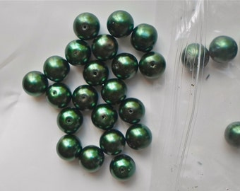 12mm Dark Forest Green Glass Pearl Round Beads  -  Crafts /Jewellery Making x 20 beads