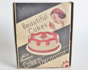 Vintage Cake Decorator Set, Beautiful Cakes Aluminum Cake Decorator Kit 1950s in Original Box, Retro Kitchen Decor for the Vintage Kitchen