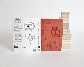 Stampin Up Stamp Set, Stampin Up Happy Moments Stamp Set, Unmounted Unused Stamps Set of 7, Happy Birthday, Thank You, For You, Cardmaking