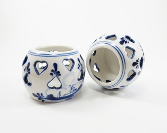 Vintage Votive Candle Holders, Heart Shaped Tealight Holder, Hand Painted in Delft Blue Colours, Ceramic Candle Holder in White and Blue
