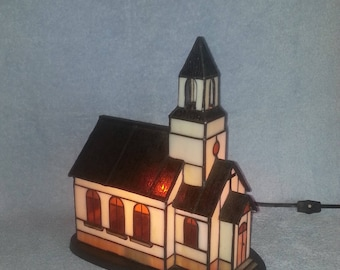 Stained Glass Church - Accent Lamp - Country Church