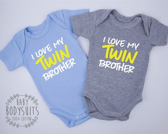 Twin Boy Gifts, I Love My Twin Brother Twin Boy Outfits, Set of 2 Bodysuits, Twin Baby Boys, Twin Baby Clothes, Twin Baby Shower, Twins