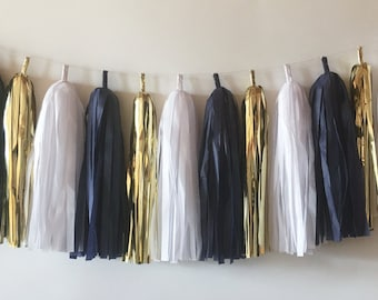 Tassel Garland  //  Navy, White, Gold