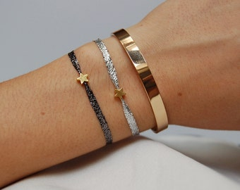 Hannah bracelet - golden and silvered lanyard