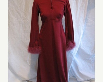 On Sale Vintage Early 1970s Maroon Full Length Long Sleeved Evening Dress
