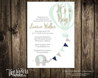 It's a Boy - Elephant Baby Shower Invitation - Elephant Boy Invitation - Elephant Balloon Invitation - Hot Air Balloon Baby Shower
