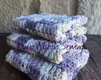 Crocheted Dishcloths - Lavender and Cream - 100% Cotton - Set of Three