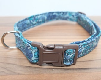 "Vintage/Retro Fabric Dog Collar, Handmade, Medium Collar (15"" - 21""), Wedding, Special Occasion."