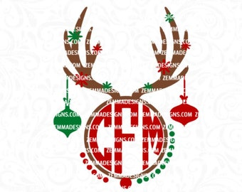 Reindeer monogram svg - Reindeer svg - Christmas monogram svg - svg christmas, Monogram svg files - reindeer svg files - Christmas clipart