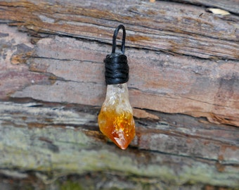 Mini citrine point pendant crystal necklace
