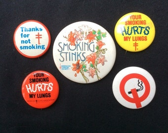 Vintage American Cancer Society Anti Smoking Pin Back Buttons, Smoking Stinks, American Lung Association Buttons
