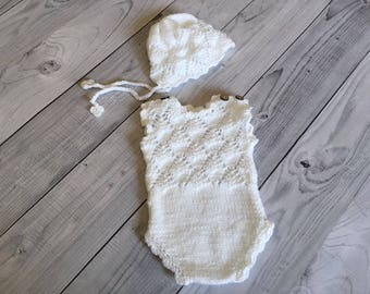 Newborn girl photo outfit white baby knit romper set