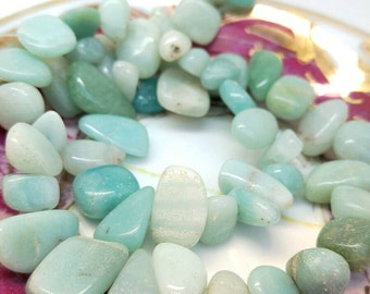 Natural Amazonite Nugget Beads 15 x 8 mm approx / Lovely soft Birds Egg Blue / Amazonite Gemstone Beads Set of 4 beads