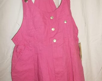 New Vintage Romper Shortalls by Gitano, Pink Cotton with Pockets, Casual Summer Shorts