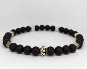 Men's matte onyx bracelet with bali sterling silver.