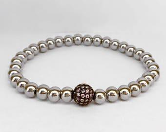 Women's stainless steel bracelet with lavender/gunmetal CZ rhinestone pave bead