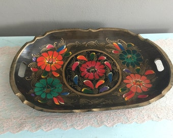 Colorful Hand carved and painted wooden tray with handles oval platter gold gilt
