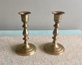 Vintage brass candlestick holders pair of Hollywood regency candle holders