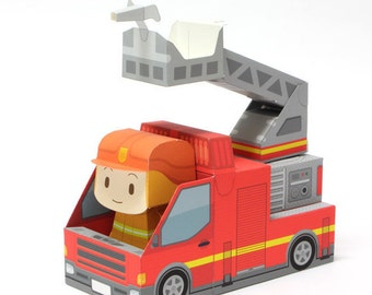 Fire truck Paper Toy / Printable Paper Craft PDF /  Tatten Plus - Emergency Vehicles