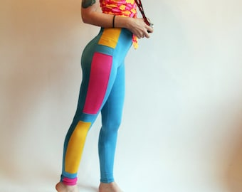 Vintage Spandex High Wasited Leggings Workout Tights 80s Leggings 90s Leggings Vintage Activewear Tight and Bright High Waist Tights