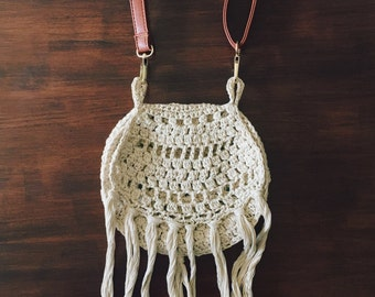 70s Crochet Shoulder Bag (Cream)