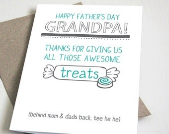 Happy Father's Day Grandpa CARD / Funny / Teal and Grey / 5x7 Folded Card – Printable DIY, Instant Download