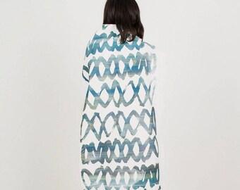 Halstuch Schal Schlauch Farbe Siebdruck Muster Grün Blau Grau Weiß Print Baumwolle screenprinted scarf color pattern blue green grey cotton
