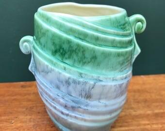 SOLD - SylvaC Small Green/Blue Art Deco Style Vase, Design No 684 with Asymmetric Handles