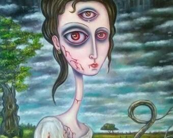 Elizabeth Bennet Zombie Hunter, Oil Painting, Pop-Surreal, Big Eyes, Zombies