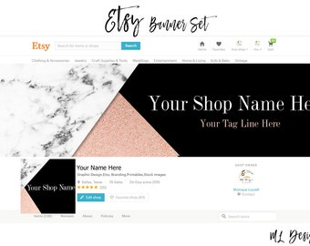 Pre-made Size Etsy Shop Banner & Icon Marble Black Rose Gold Modern  Font