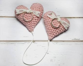 Wedding Ring Pillow Alternatives - Wedding Bands Pillow - Wedding Ring Pillow Ideas - Wedding Bearer Pillow - Wedding Ring Pillow - Hearts