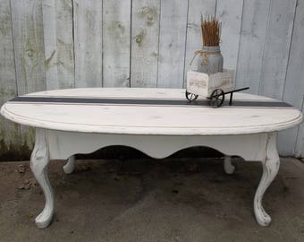 Coffee Table Grain Sack Table Shabby Country Chic Oval Coffee Table French Provincial Vintage Coffee Table French Country Coffee Table