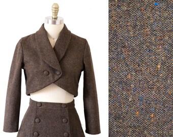 Country wedding bolero jacket - Cropped jacket -  Brown tweed blazer - Womens blazer -Vintage jacket -1950s bolero jacket -Tweed blazer