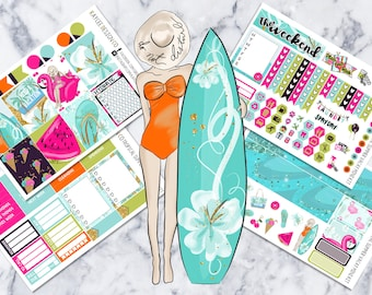 MINI Weekly Kit / Tropical Summer Vacay / Planner Stickers /  Fits Erin Condren Vertical & MAMBI / Glitter / Hand Drawn